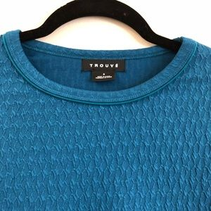 Trouve Knit Teal Blue Sweater Small NWOT